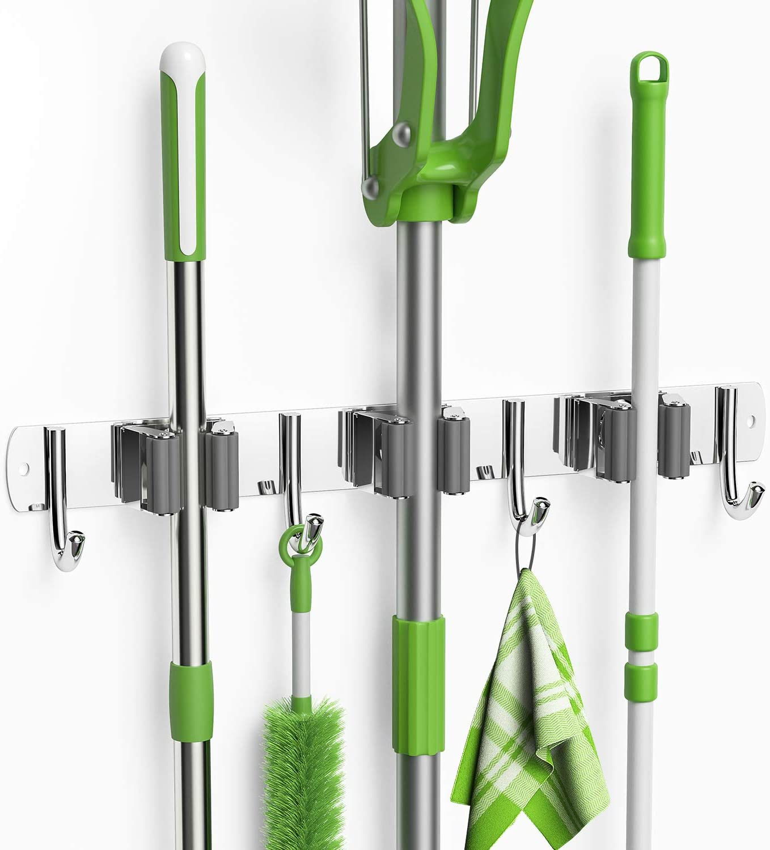 LETMY Broom Holder Wall Mount - Stainless Steel Mop and Broom Hanger Holder- Heavy Duty Garage Storage Rack & Garden Tool Organizer with 3 Racks 4 Hooks for Kitchen Bathroom Closet Office Garden
