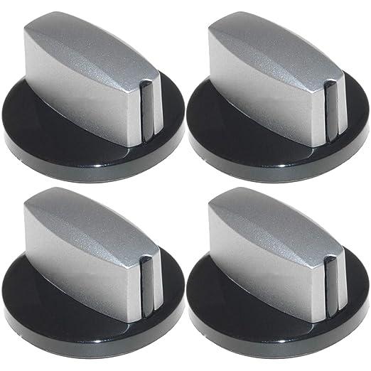 Spares2go - Perilla de control para horno Neff (plateado/negro, 4 ...