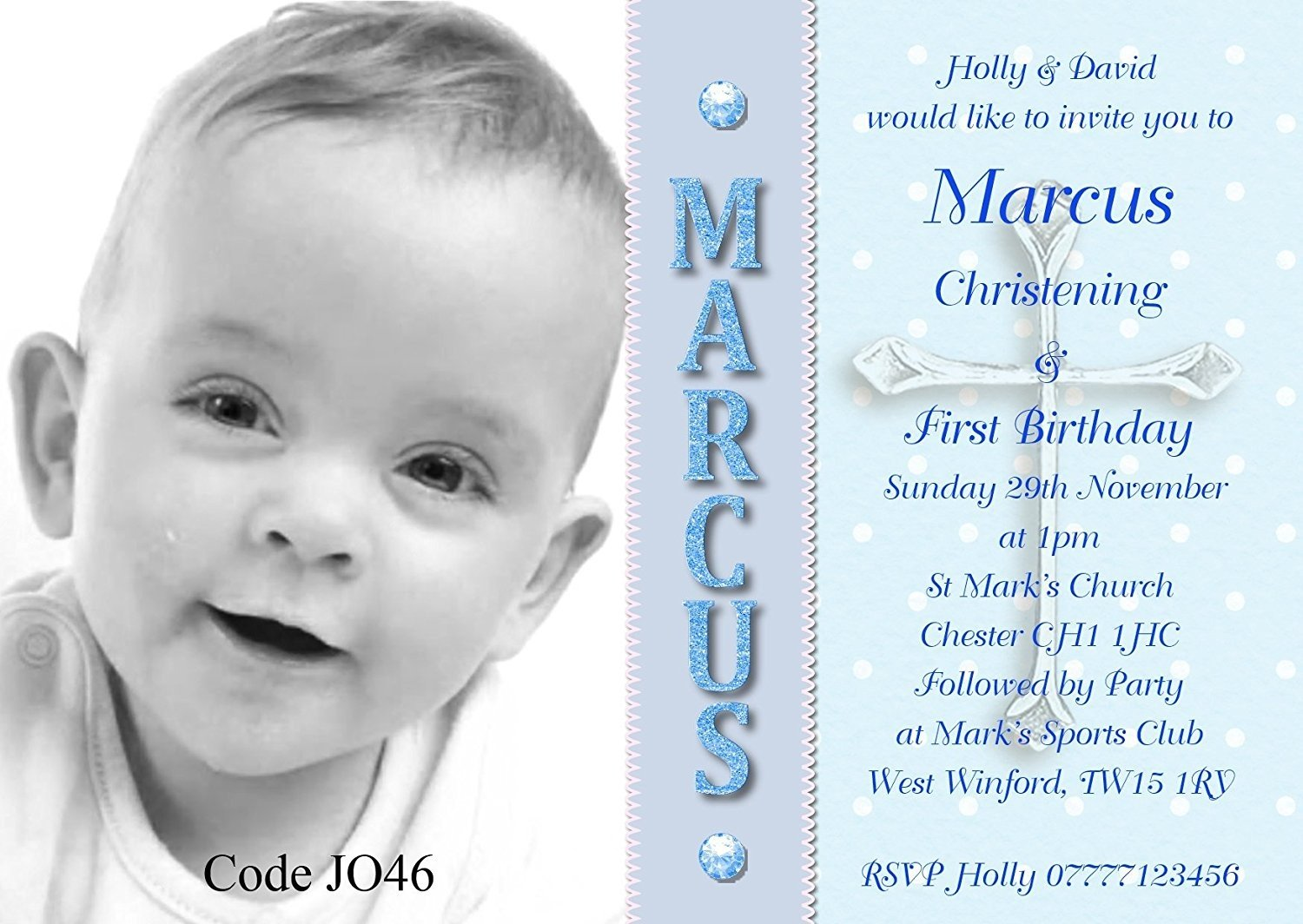Personalised Boys Joint Christening First Birthday
