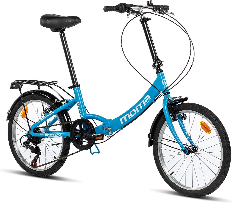 Moma Bikes First Class 2 AZ Bicicleta Plegable Urbana, 6V. Sillin Confort, Unisex Adulto, Azul, Talla Única