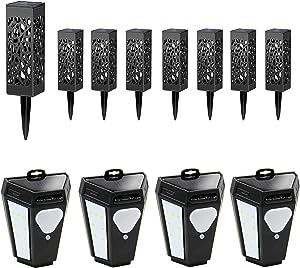 Maggift 8 Pcs Solar Garden Lights   4 Pack Solar Motion Sensor Step Lights