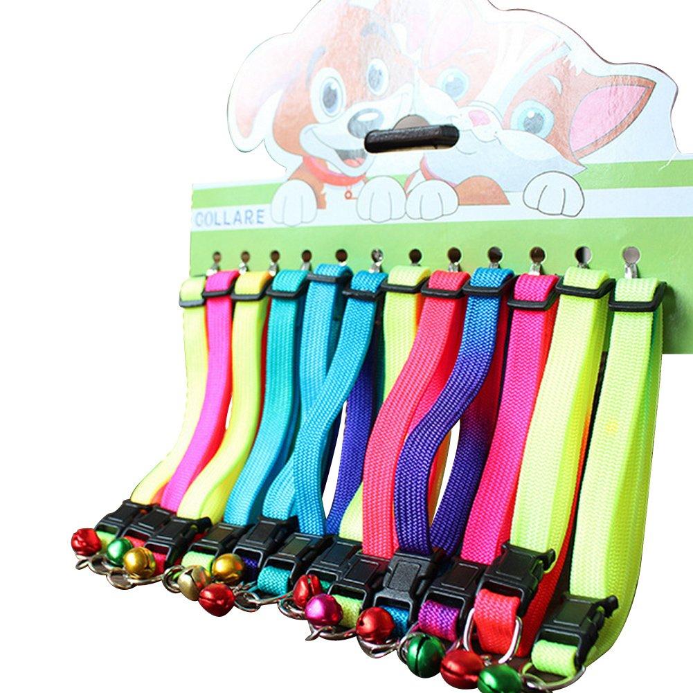 Sobotoo 12pur de collier pour animal domestique de couleur réglable, coloré Rainbow Chat Chien Chaton Kitty Collier Chiot avec Bell (23,9cm ~ 34cm)