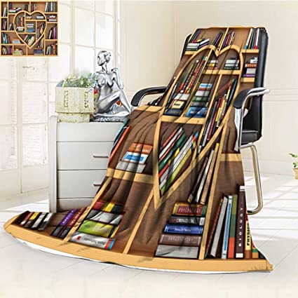 Luminous Microfiber Throw Blanket Education Concept Bookshelf With Books And Textbooks In Form Of Heart I