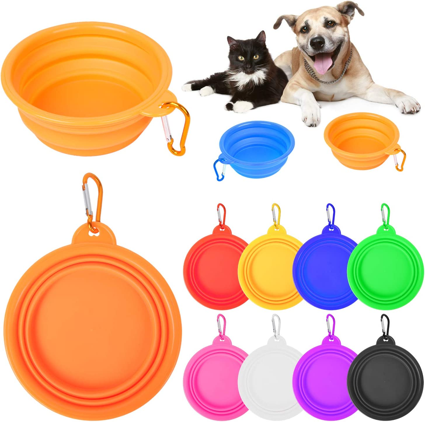 PROLOSO 9 Pcs Collapsible Dog Bowl Foldable Expandable Silicone Cup Dish for Pet Cat Food Water Feeding Portable Travel Bowl with Carabiner