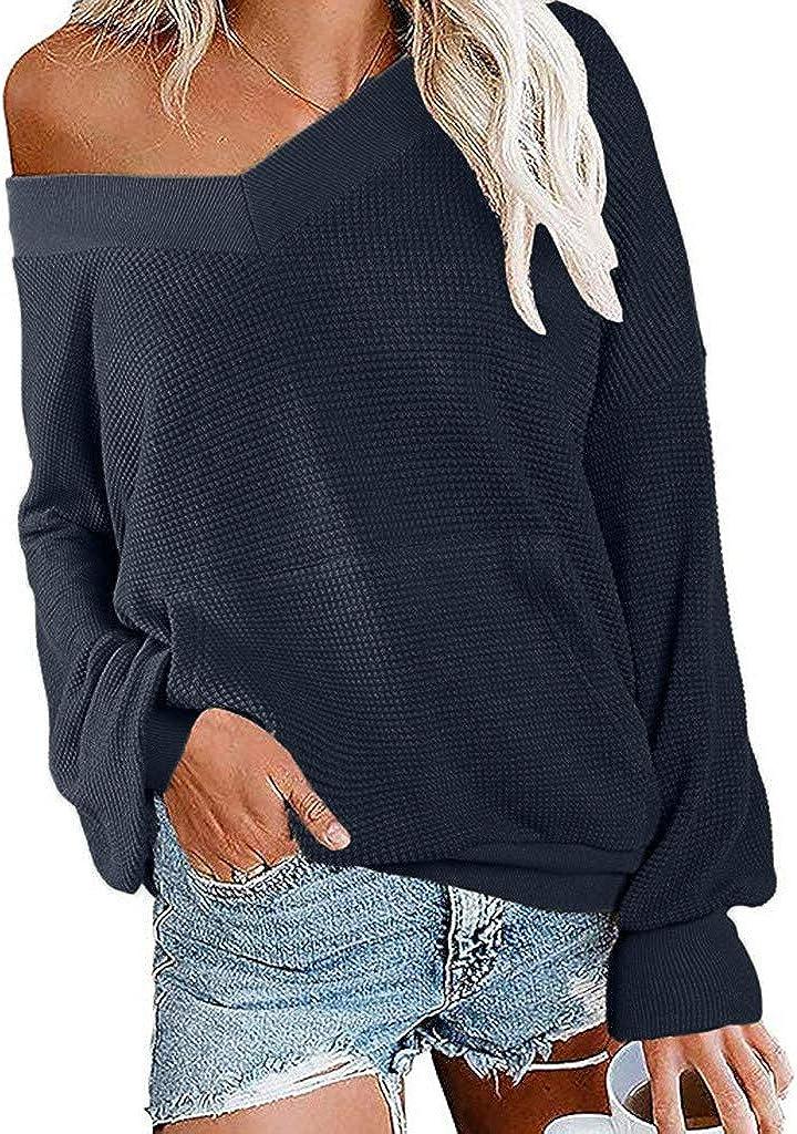 JiaMeng Camiseta de Las Mujeres Invierno Otoño Manga Larga Suéter con Cuello en V y Manga Larga de Punto con Hombros Descubiertos y Jersey de Hombro