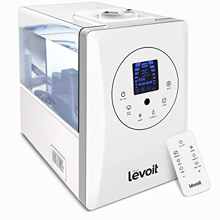 Review Levoit Humidifiers, 6L Warm and Cool Mist Ultrasonic Humidifier for Bedroom or Baby's Room with Remote and Humidity Monitor, Vaporizer for Large Room, Home, Waterless Auto Shut-off, 2-year Warranty