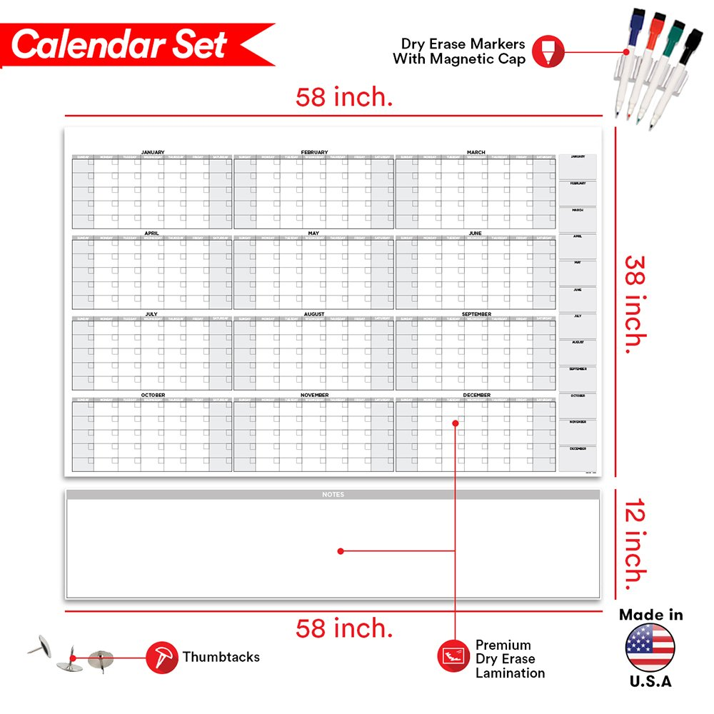 58 Quot X 38 Quot Large Dry Erase Wall Calendar Blank 2018 2019 12