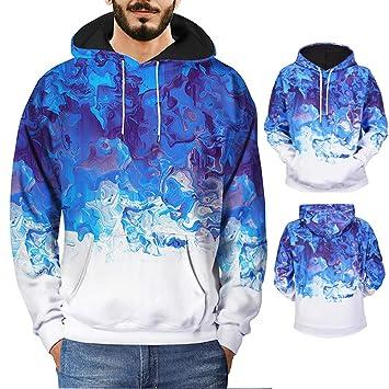 Hombre sudadera hoodie casual invierno otoño,Sonnena sudadera con capucha manga larga guapa hombre Flor de hielo de cristal estampado talla grande ...