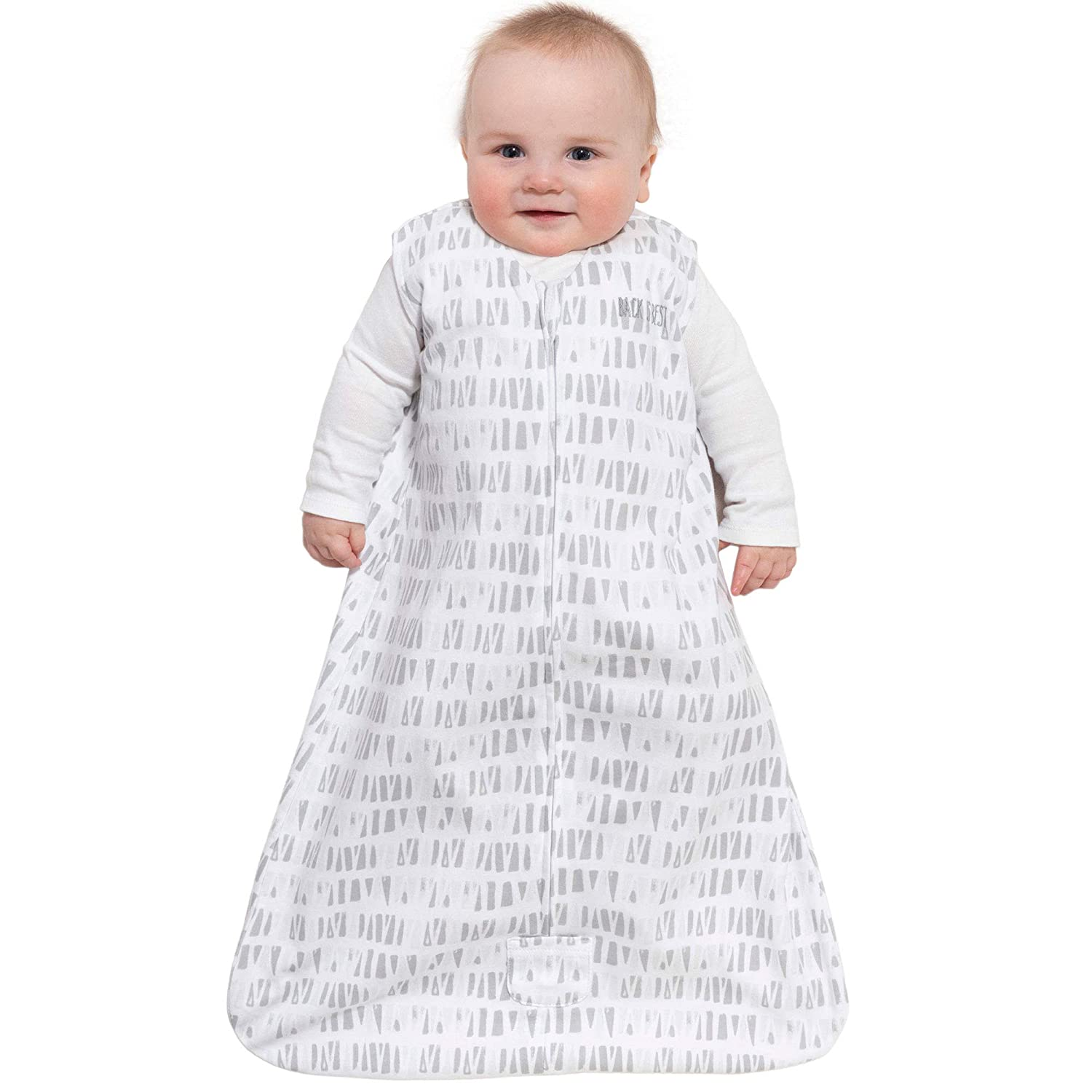 Squares and Triangles Grey Small Halo Sleepsack Cotton Wearable Blanket