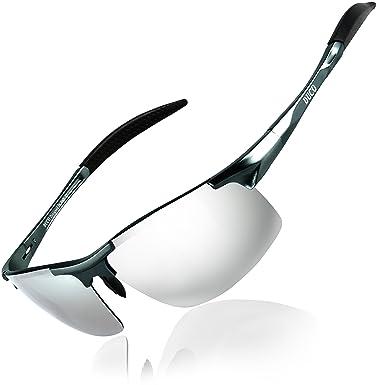 Duco Gafas de sol deportivas polarizadas para hombre con ultraligero y marco de metal irrompible, 100% UV400-8177S