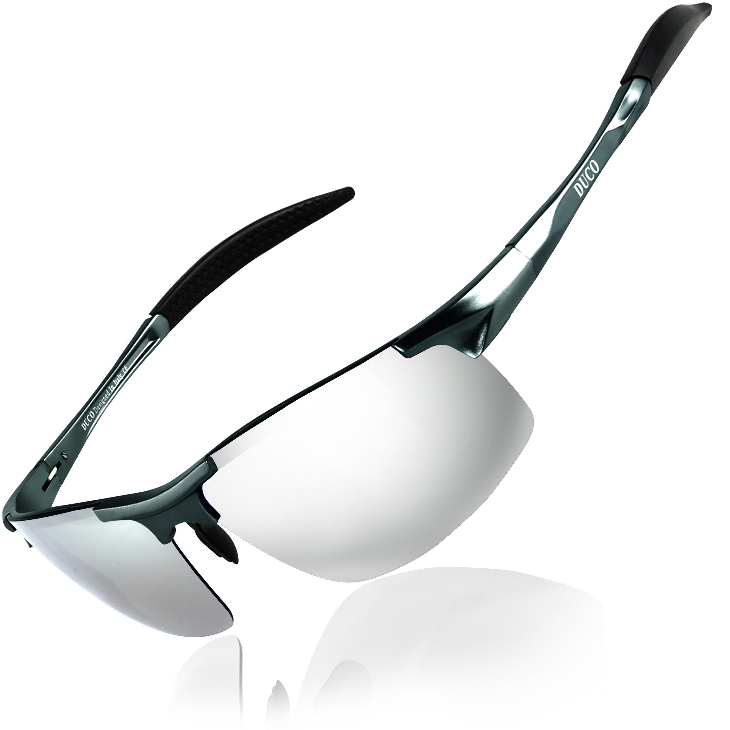 DUCO Mens Sports Polarized Sunglasses UV Protection Sunglasses for Men 8177s(Gunmetal Frame Mirror Lens)