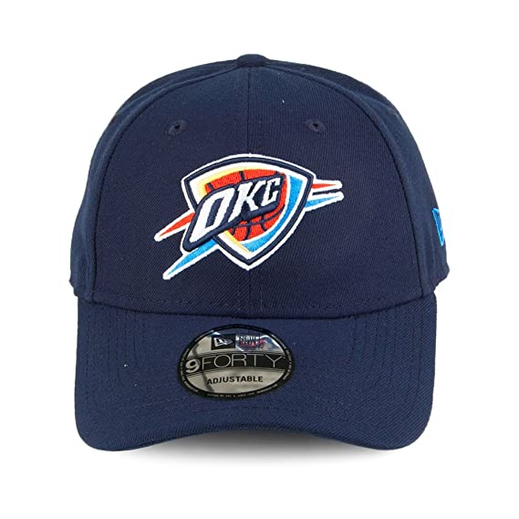 differently a939f 25a66 Amazon.com  New Era NBA 9FORTY Oklahoma City Thunder Hat The League Adult  Adjustable Cap Navy Blue  Clothing