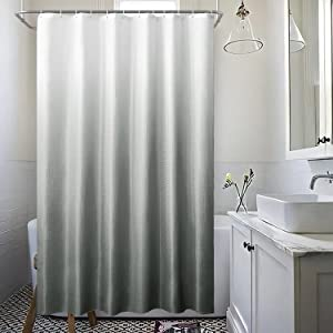 72x84 Ombre Fabric Shower Curtains Sets for Bathroom with 12 Hooks,Textured Waffle Weave Gradient Waterproof Bath Curtains,1 Panel,72Wx84L Inches,Light Gray