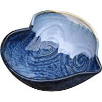 "Small Heart Shaped Decorative Serving Bowl Handmade in Ireland. Original Design Tableware Dish Measures 6"" with Hand-Glazed Spiral Finish"