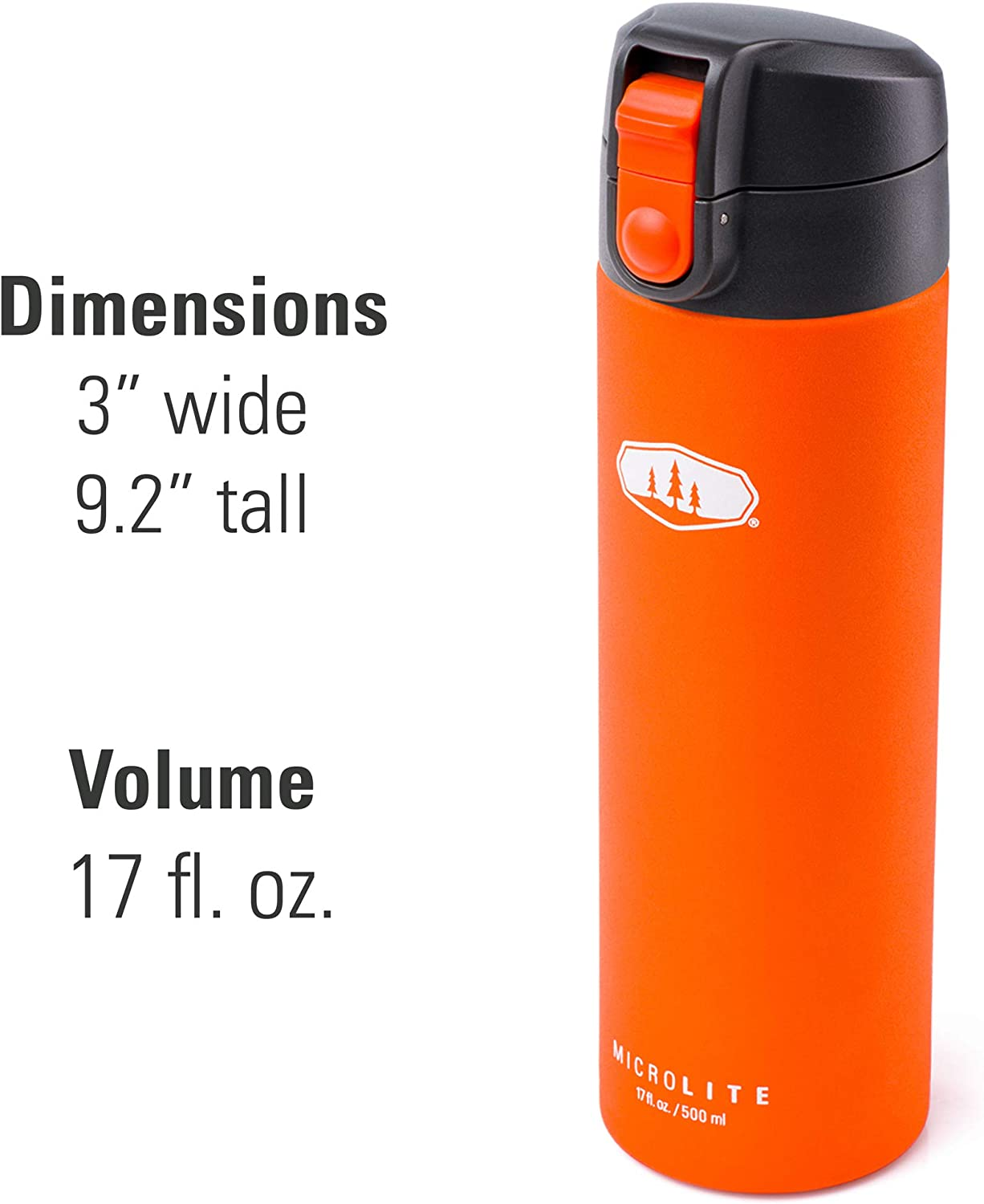 GSI Outdoors MicroLite 500 Flip 17 fl.oz Vacuum Insulated Stainless Steel Water Bottle