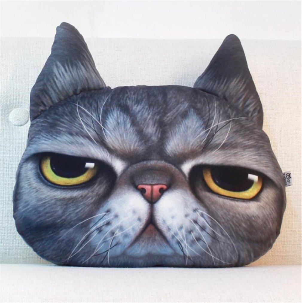 NUO-Z 3D Cushion - Bedside Nap Sleep Pillow Funny Cute Short Plush Cushion - Creative Personality Gift Plush Toys - Christmas Gift, Family, Hotel, Decoration, Chair, Bed,Car,Black,S