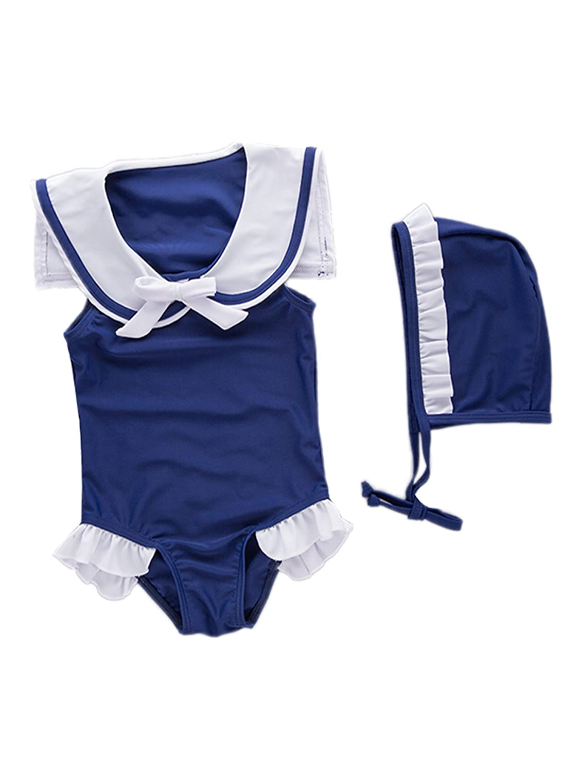 stylesilove Baby Girls Sleeveless Navy Sailor Swimsuit Hat 2-pc