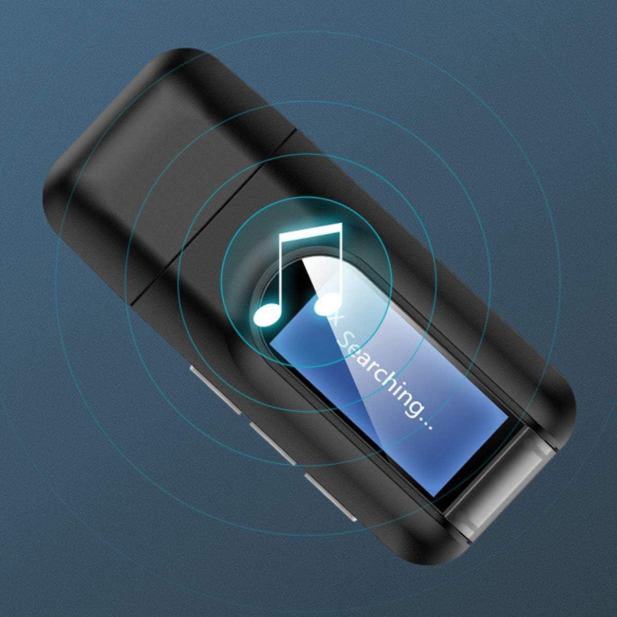 Greatangle Pantalla LCD Adaptador de Audio inal/ámbrico transmisor Receptor de Audio 3 en 1 Conector de 3,5 mm Adaptador USB est/éreo PC TV Negro