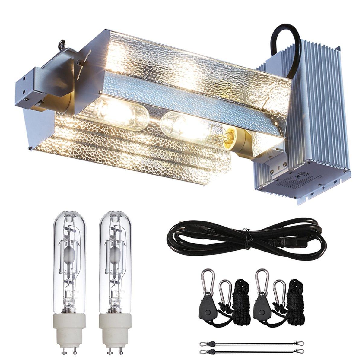 Hongruilite 630W 120V~240V Ceramic Metal Halide CMH CDM Grow Light Fixture Kit w/3100K Bulb 120V Power Cord Replace LED Full Spectrum Grow Light (CMH 630W (Wide ))
