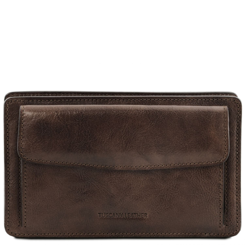 El/égante pochette en cuir pour homme Tuscany Leather Denis TL141445 Marron
