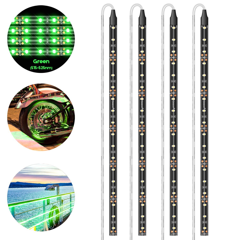 Pryeu striscia LED 12/V rosso//verde//blu//bianco 30/cm 30/cm 18/x 3528/SMD impermeabile per moto auto camion barche esterna illuminazione interna confezione da 4 Blue