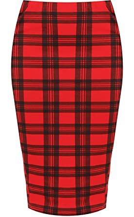 90834c4db0 WearAll Plus Size Womens Tartan Check Print Elastic Ladies Knee Length Skirt  - Red - 12