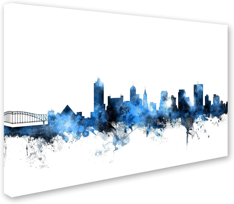 Amazon Com Memphis Tn Skyline White By Michael Tompsett 30x47 Inch Canvas Wall Art Posters Prints
