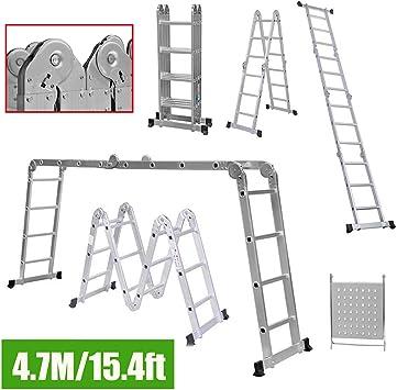 Escalera telescópica multiusos extensible de 4,7 m con bisagras de bloqueo de seguridad, escalera plegable de aluminio con 1 bandeja de herramientas de alta resistencia, capacidad de carga de 330 lb: Amazon.es: