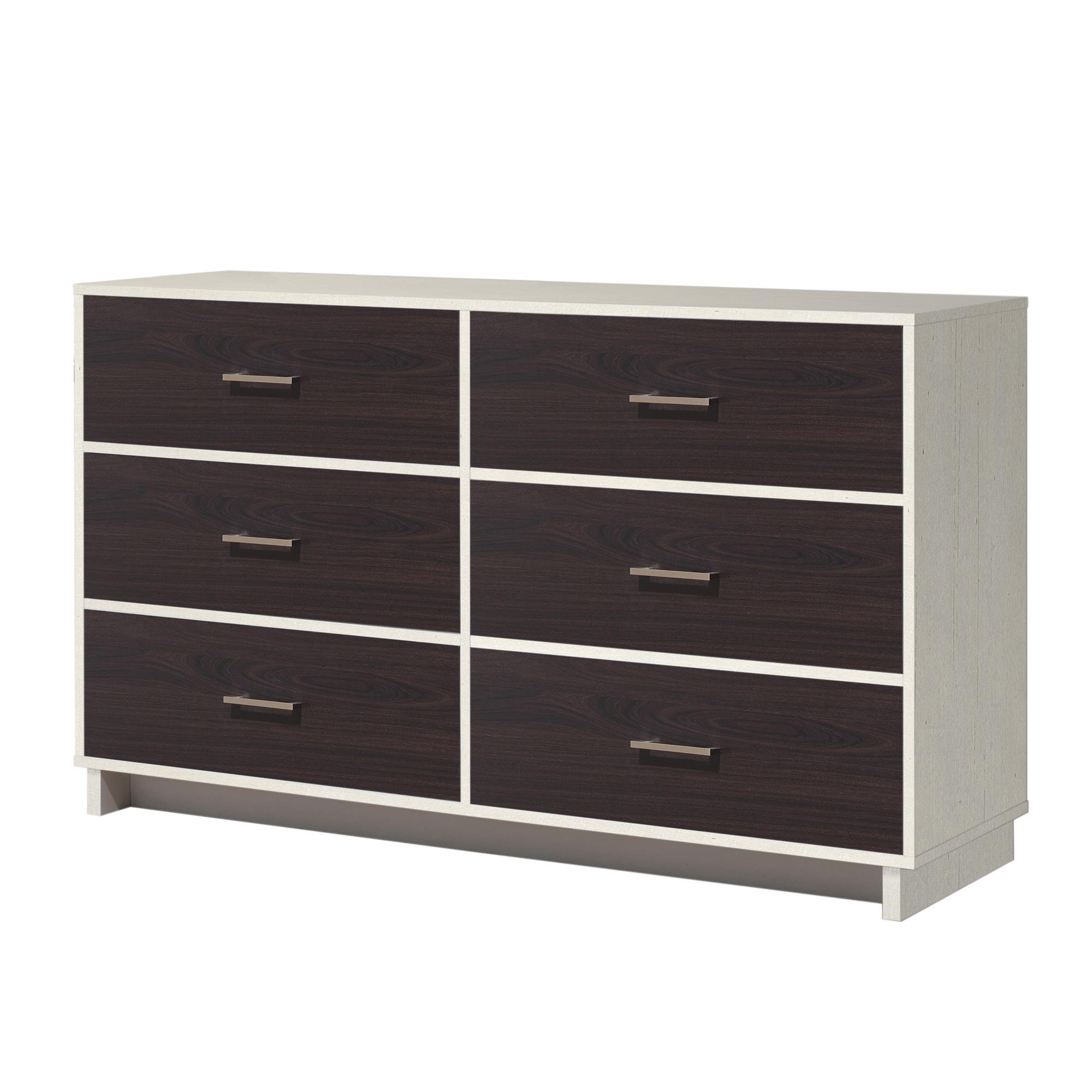 Ameriwood Home Colebrook 6 Drawer Dresser, Vintage White/Espresso