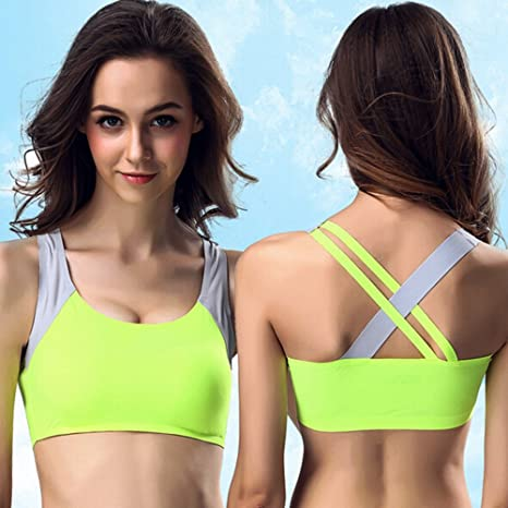 CapsA - Sujetador deportivo para mujer, espalda cruzada, sin aros ...