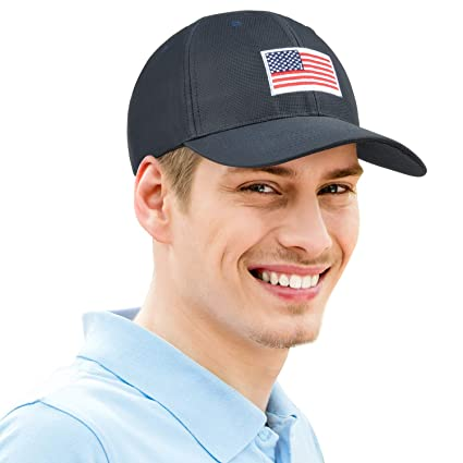 e190ed9f8c1 Image Unavailable. Image not available for. Color  American Flag Sun Cap  Adjustable Patriotic Sports Tennis Baseball Golf ...