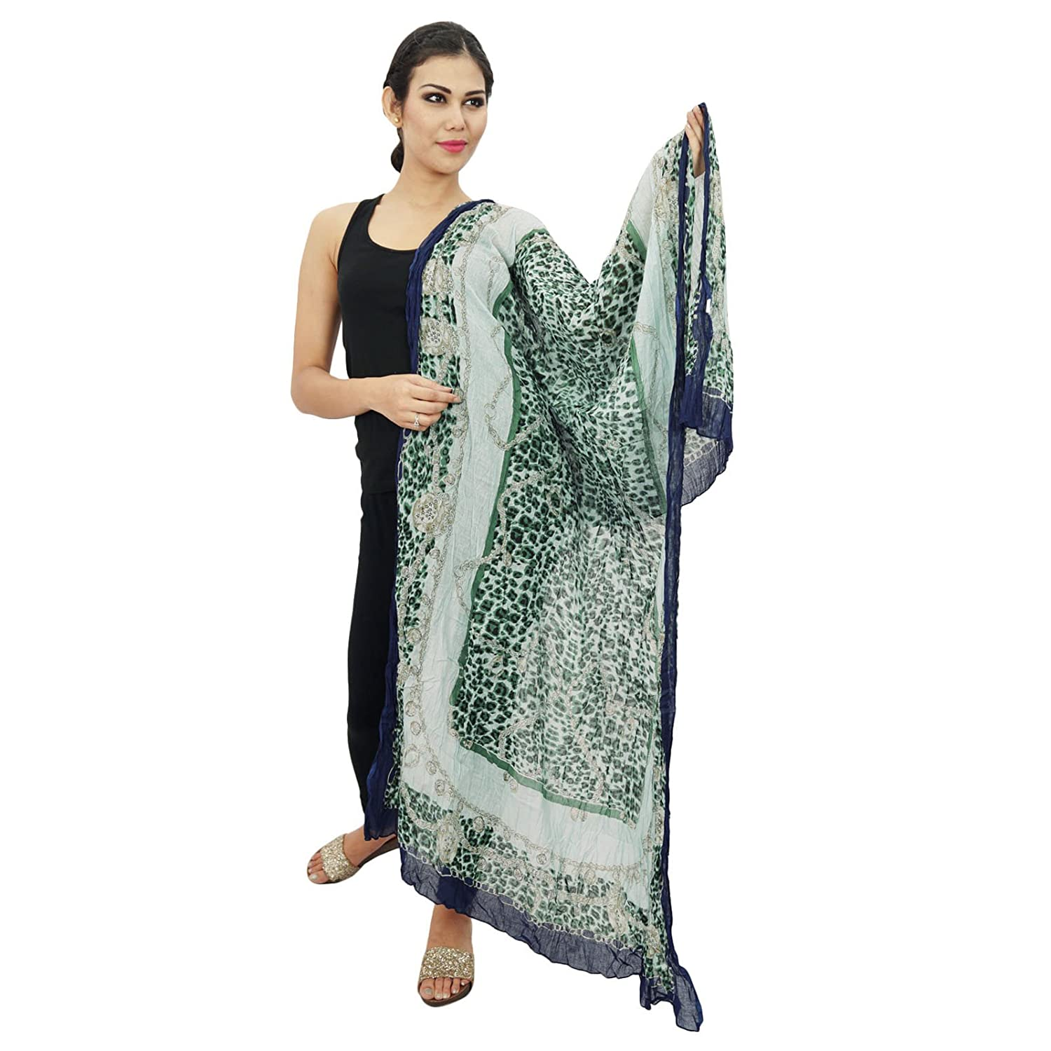 Long Cotton Dupatta Stole Women Wear Neck Wrap Indian Scarves Chunni Head Scarf