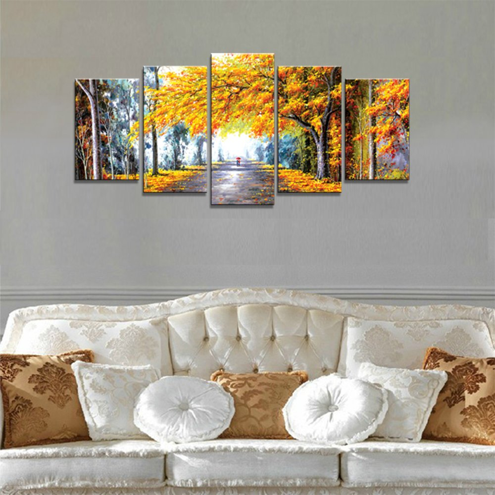 amazoncom wieco art autumn love modern framed giclee canvas prints 5 panels abstract landscape forest oil paintings reproduction pictures photo printed - Living Room Paintings