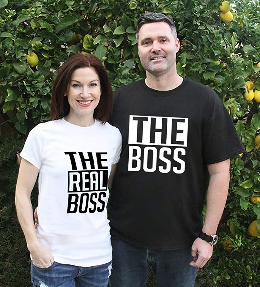 Valentines Day Matching Couple The Boss and The Real Boss Graphic Design Printing Gift Shirt