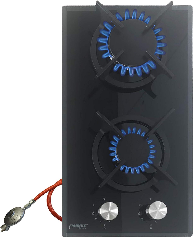 Phönix Domino - Hornillo de gas empotrable (cristal, 2 fuegos, para camping, propano y gas natural, incluye regulador de manguera)