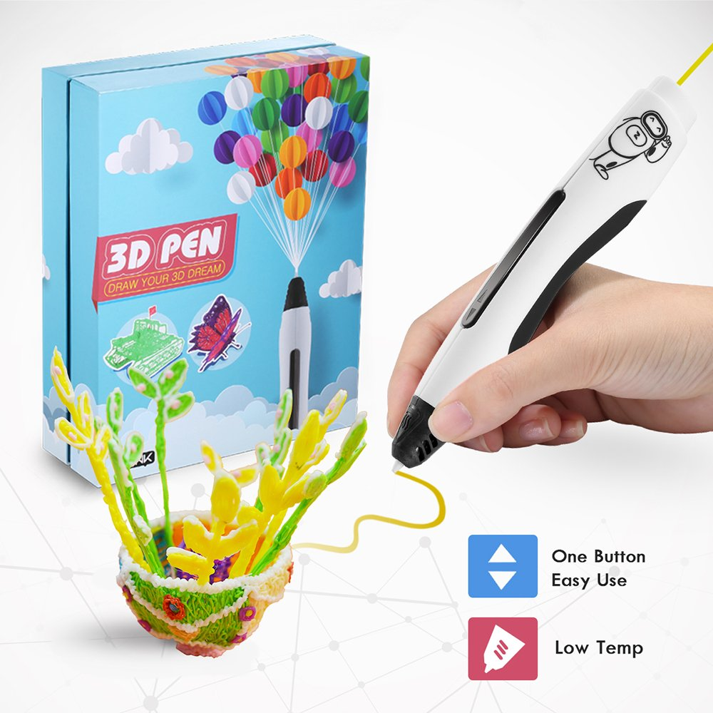 Ailink 3D Printing Pen Safe for Drawing with LCD Screen, 3D Craft Pen Set with 1.75mm PLA&PCL Filament Refills Pack 20 PCS 5m Each + 1 Small Drawing Board + 1 Small Shovel + 2 Finger Cot (Black) GLOBAL