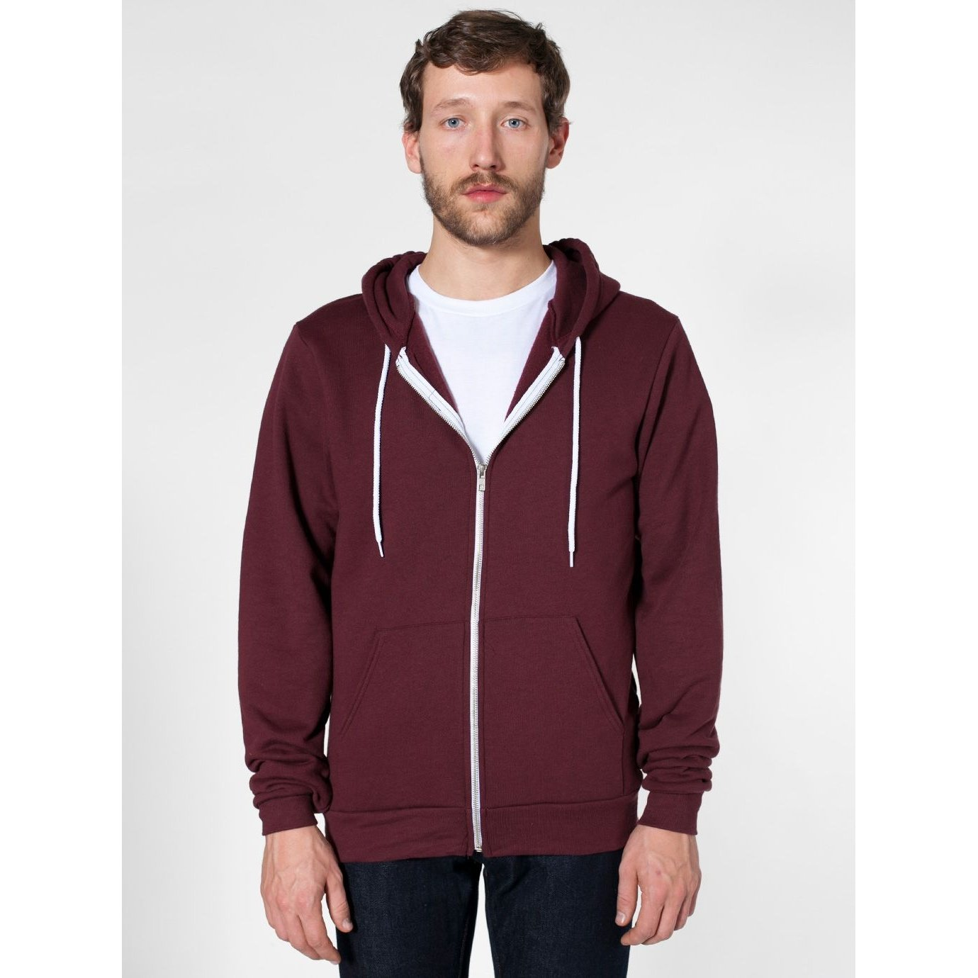 American Apparel Unisex Flex Plain Full Zip Fleece Hoodie