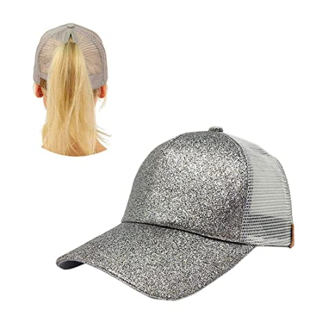 d69c98905 Aolvo Silver Ponytail Baseball Hat Personalized High Messy Bun Baseball Cap  Adjustable Flatbill Snapback Hat Blank Trucker Hat Plain Glitter Sequin ...