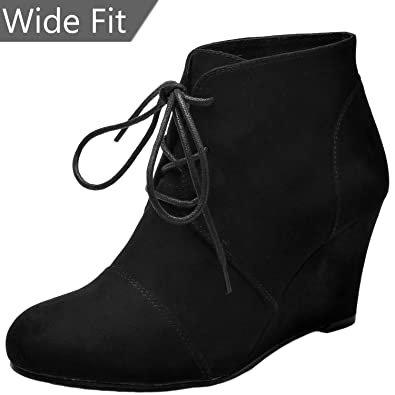 99a819f37da Women s Wide Width Wedge Boots - Lace Up Low Heeled Ankle Booties w Round  Closed