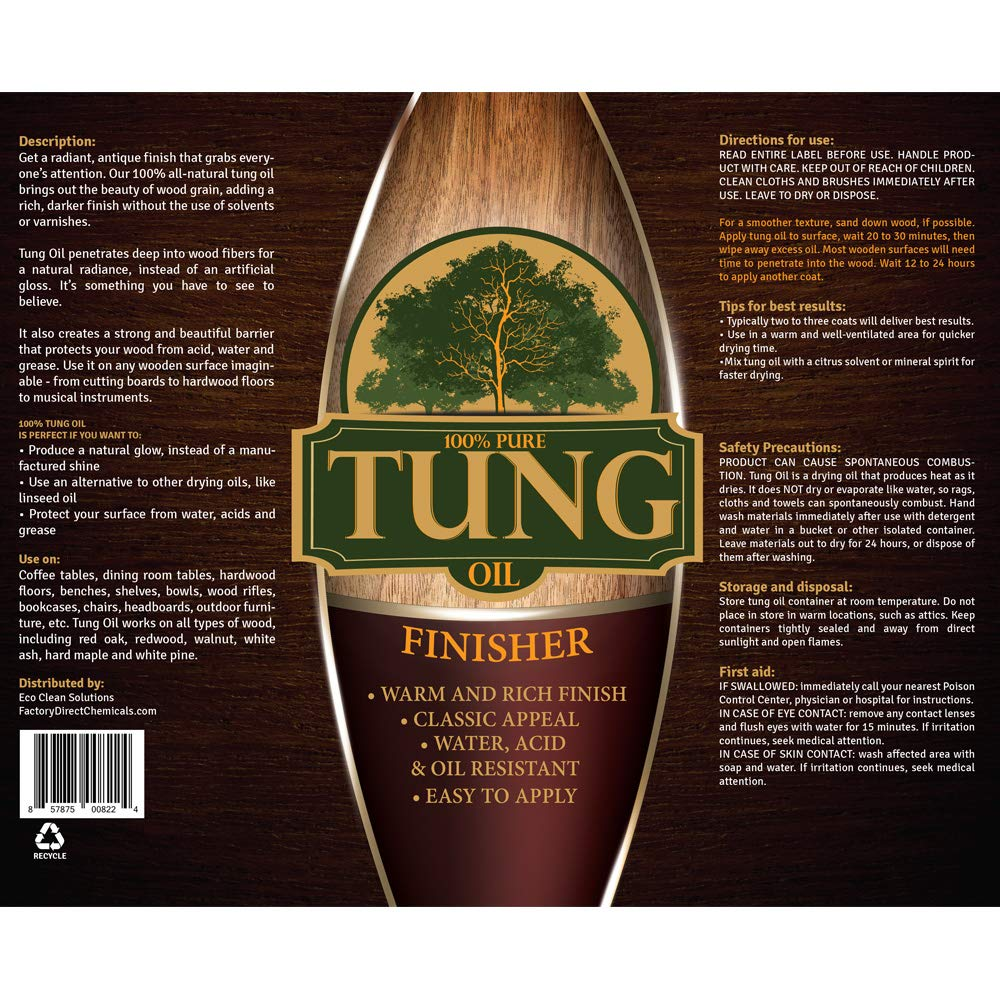 100% Pure Tung Oil Finish Wood Stain & Natural Sealer for All Types of Wood (12 x 32 oz Case) by FDC Chem (Image #2)