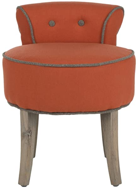 Safavieh Mercer Collection Georgia Vanity Stool, Burnt Orange