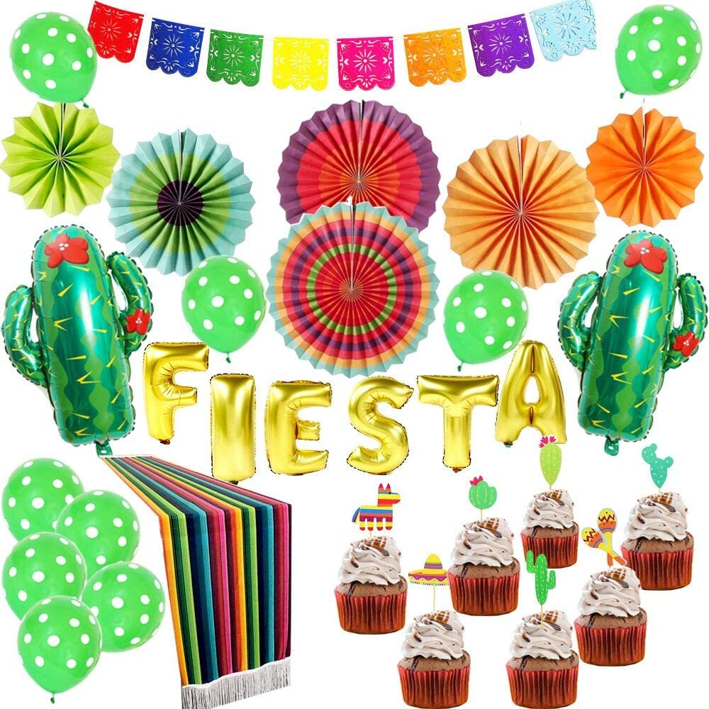Fiesta Party Supplies,Mexican Party Decorations, Wedding,Birthday,Cinco De  Mayo,Taco Bout a Party,Luau Party Decorations-9 Pieces