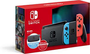 "Switch with Neon Blue and Neon Red Joy-Con - 6.2"" Touchscreen LCD Display, NVIDIA Custom Tegra Processor, 32GB of Internal Storage - Blue and Red - Carrying Case"