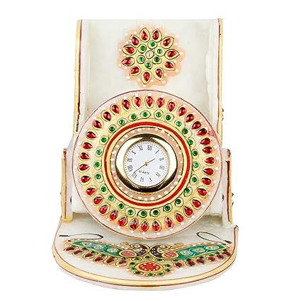 Kundan Meenakari Marble Mobile Stand with Clock 112