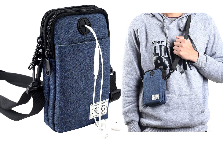 ALAIX Neck Pouch Lightweight Neck Wallet Passport Holder Travel Wallet Messenger Bag Crossbody Bag with Locking Carabiner & Adjustable Strap Blue Wallet-W11-YD2-EU-Blue