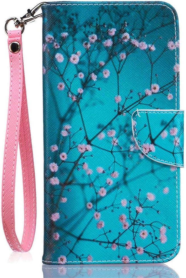 JanCalm iPhone 8 Plus Wallet Case,iPhone 7 Plus Case [Card/Cash Slots+Side Pocket][Detachable Wrist strap] KickStand PU Leather Magnetic Flip Cover for iPhone 8 Plus/7 Plus + Crystal Pen(Plum blossom)