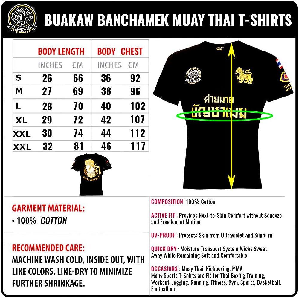 Muay Thai T-Shirt BUAKAW BANCHAMEK GYM Cotton Men T-Shirt Boxing Thailand