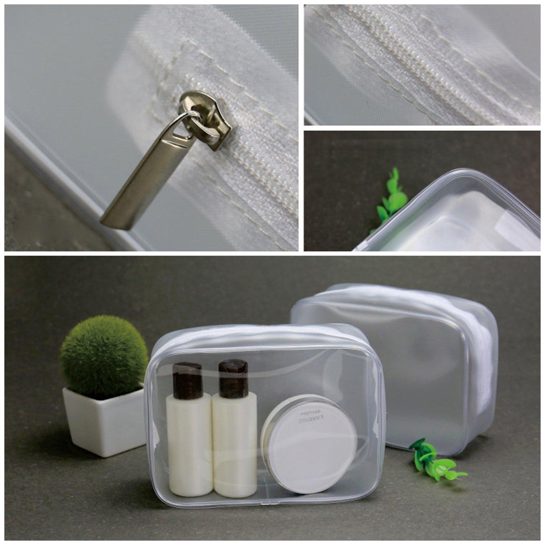 Amazon.com: 2 bolsas transparentes de PVC para aseo, bolsa ...