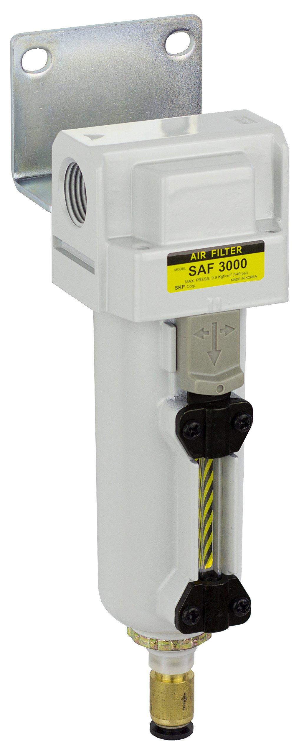 PneumaticPlus SAF3000M-N03BD-MEP Compressed Air Particulate Filter, 3/8'' Pipe Size, NPT-Auto Drain, Metal Bowl, 10 μm