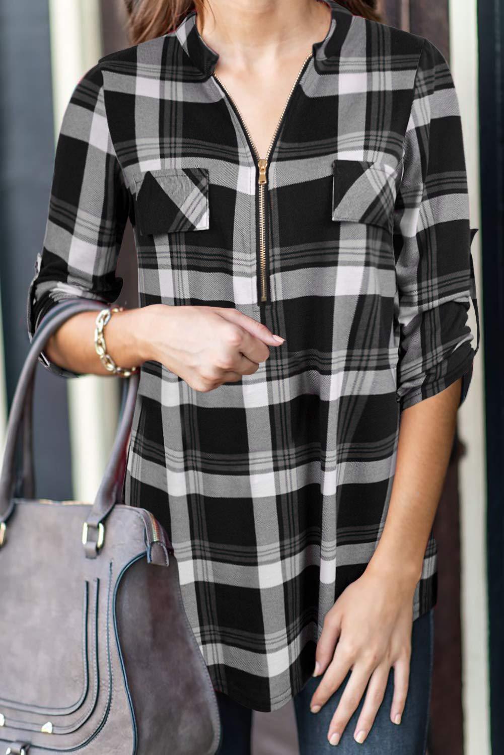 Odosalii Kvinnor Zip Up Pläd Tunika Blus Rullad Ärm Polo Top Check Shirts L-#1black